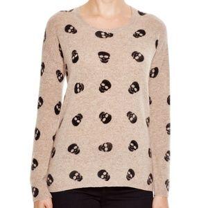 Aqua Cashmere Skull Print Sweater